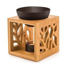 Aromalampa bambusová s keramickou miskou - černá